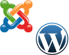 logos of CMS Joomla! and Wordpress