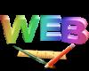 logo für Webdesign mit Text WEB und Pinsel, Stift und Lineal