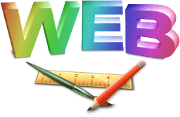 Logo for web design and the text WEB with a brush, a pen and a ruler