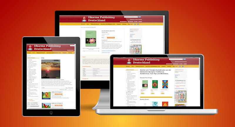 Website Dharma Publishing Deutschland in different screenshots