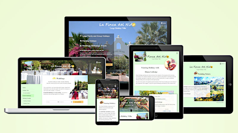 Website Finca del Niño the large holiday villa in different screenshots