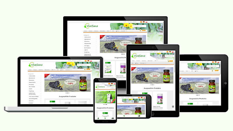 Website eCommerce ViveSano Shop in different screenshots